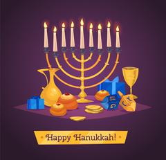 Hanukkah celebration. Set of colorful elements. Stock flat vector illustration Stock Illustration