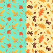 Autumn seamless patterns. Fall leaves. Vector illustration Stock Illustration