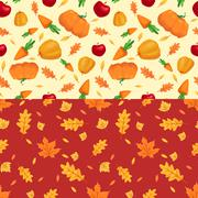 Autumn seamless patterns. Fall leaves. Vector illustration Stock Illustration