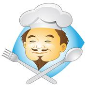 Smiling Chef with Cutlery Stock Illustration