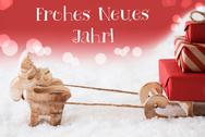 Reindeer With Sled, Red Background, Neues Jahr Means New Year Stock Photos