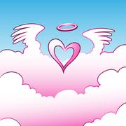 Angel Heart over the Clouds Stock Illustration