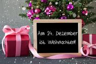 Tree With Gifts, Snowflakes, Weihnachten Means Christmas Stock Photos