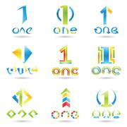 Icons for number 1 Stock Illustration