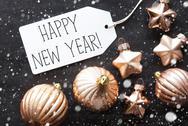 Bronze Christmas Balls, Snowflakes, Text Happy New Year Stock Photos