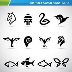Abstract Animal Icons Stock Illustration