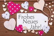 Label, Pink Hearts, Frohes Neues Jahr Means Happy New Year Stock Photos