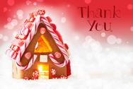 Gingerbread House, Red Background, Text Thank You Stock Photos