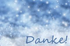 Blue Sparkling Christmas Background, Snow, Danke Means Thank You Stock Illustration