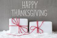 Two Gifts With Snow, Text Happy Thanksgiving Stock Photos