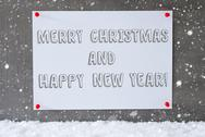 Label On Cement Wall, Snowflakes, Merry Christmas, Happy New Year Stock Photos