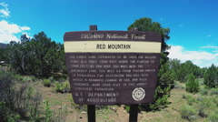 Red Mountain Extinct Volcano Cinder Cone Hiking Trail Sign Stock Footage