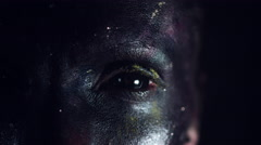 4k Cosmic Shot of a Woman with Alien make-up, Close-up of one Eye Stock Footage