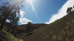 Ridge Of Hard Lava Pan To Hiking Trail- Red Mountain- Flagstaff AZ Stock Footage