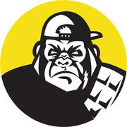Angry Gorilla Head Baseball Cap Circle Retro Stock Illustration