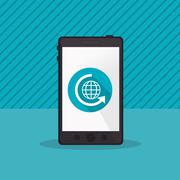 Modern cellphone with refresh arrow and earth globe diagram icon Stock Illustration