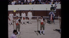 1971: riders are showing off their horsemanship at a bullfighting arena  Stock Footage