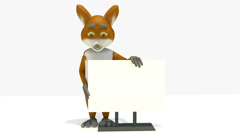A FOX LEANING ON A BLANK ADVERT BANNER AT HIS SIDE Stock Footage