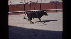 1971: a bull is fought in a small bullring with very little public SPAIN Stock Footage