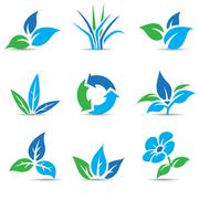 Blue and Green Leaves isolated on white Stock Illustration