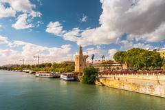 View of Golden Tower, Torre del Oro, of Seville, Andalusia, Spai Stock Photos