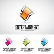 Glossy 3d Cartoon Film Reel Logo Icon Stock Illustration