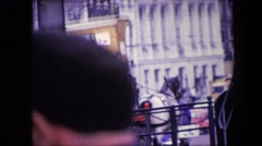 1967: horse drawn cart pulled down city street carrying beer AMSTERDAM Stock Footage