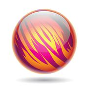Magenta and Yellow Planet Sphere Stock Illustration