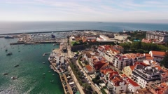 Beautiful Beach in Cascais Portugal aerial view Stock Footage