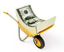 Money in wheelbarrow Stock Illustration