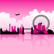 London Magenta Skyline Piirros