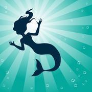 Mermaid Underwater Stock Illustration