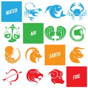 Colorful Zodiac Star Signs Stock Illustration
