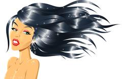 Fashion Girl with Shiny Hair Stock Illustration