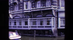 1967: views of houses and hotels and restaurants, at the riverbanks Stock Footage