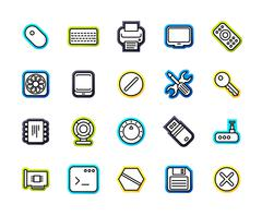 Outline icons thin flat design, modern line stroke style Stock Illustration