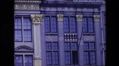 1967: ornate building with address of 1697 BRUSSELS, BELGIUM Stock Footage
