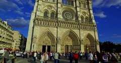 Paris, France. Circa September 2016. Facade of the Notre Dame cathedral with Stock Footage