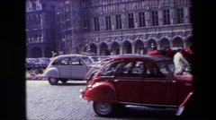 1967: panoramic view of gorgeous architecture and flower vendors beneath Stock Footage