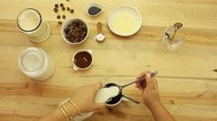 Microwave chocolate homemade Brownies Brownie in a mug cup recipe Stock Footage