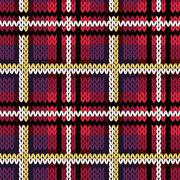 Knitting checkered seamless pattern in various colors Stock Illustration
