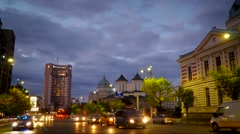Bucharest Sunset Timelapse Stock Footage