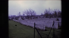 1967: a vast cemetery with hundreds of similar headstones CALAIS, FRANCE Stock Footage
