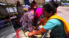Distribution of humanitarian assistance to the victims of the earthquake Nepal Stock Footage
