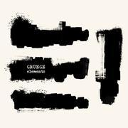 Set of Black ink vector stains Stock Illustration