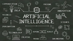 Handwriting concept of 'Artificial Intelligence' at chalkboard. with diagram. Stock Footage