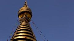 Swayambhunath stupa near Boudhanath Stupa in Kathmandu close up, Nepal Stock Footage