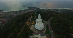 Kata beach and Karon beach are behind big Buddha Stock Footage