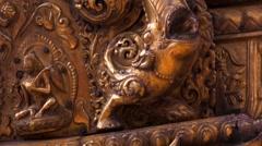 Gold prayer window with bas-relief of Buddha and Garuda on Swayambhunath stupa Stock Footage