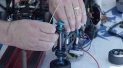 Building RC Car Close Up Stock Footage